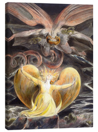 Canvastavla  the great red dragon and the woman clothed with sun - William Blake