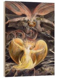 Trätavla  the great red dragon and the woman clothed with sun - William Blake