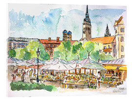 Akrylglastavla  Munich Food Market Square Day in Summer Aquarell - M. Bleichner