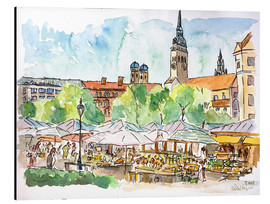 Aluminiumtavla  Munich Food Market Square Day in Summer Aquarell - M. Bleichner