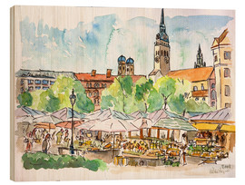 Trätavla  Munich Food Market Square Day in Summer Aquarell - M. Bleichner