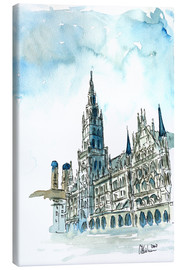 Canvastavla  Munich City Hall Aquarell - M. Bleichner