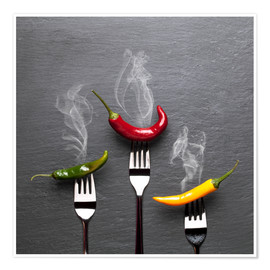 Premiumposter  steaming colorful chili peppers - pixelliebe