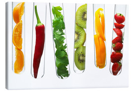 Canvastavla  Fruit and vegetables in test tubes