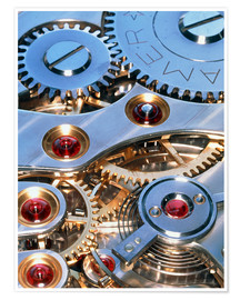 Premiumposter Internal cogs and gears of a 17-jewel Swiss watch