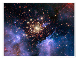 Premiumposter  Open star cluster NGC 3603, HST image - NASA