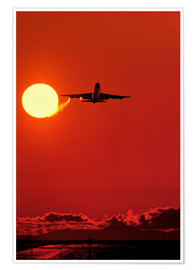 Premiumposter Boeing 747 taking off at sunset