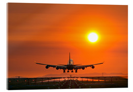 Akrylglastavla  Aeroplane landing at sunset - David Nunuk