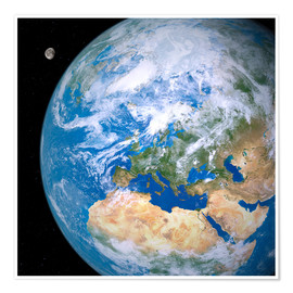 Premiumposter  Earth and the Moon from space - Detlev van Ravenswaay