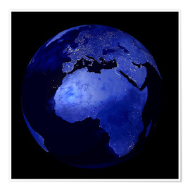 Premiumposter Africa and Europe at night