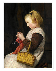 Premiumposter Knitting Girl with basket