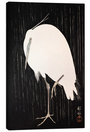 Canvastavla  White heron standing in the rain - Ohara Koson