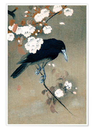 Premiumposter Crow and Cherry Blossoms