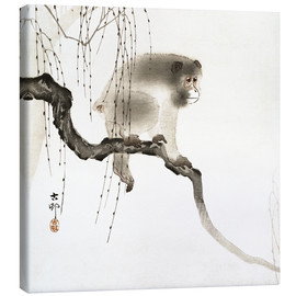 Canvastavla  Japanese macaque on a tree - Ohara Koson
