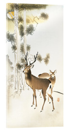 Akrylglastavla  Deer and roe deer in winter - Ohara Koson