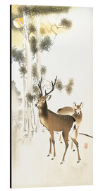 Aluminiumtavla  Deer and roe deer in winter - Ohara Koson