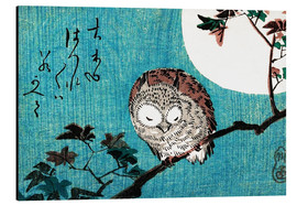 Aluminiumtavla  Small Horned Owl on Maple Branch under Full Moon - Utagawa Hiroshige