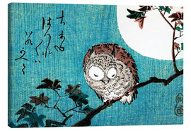 Canvastavla  Small Horned Owl on Maple Branch under Full Moon - Utagawa Hiroshige