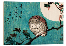 Trätavla  Small Horned Owl on Maple Branch under Full Moon - Utagawa Hiroshige