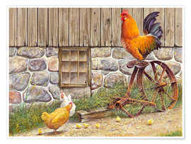 Premiumposter  King Rooster and Hens - John Bindon