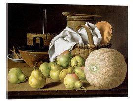 Akrylglastavla  Still Life with Melon and Pears - Luis Egidio Meléndez