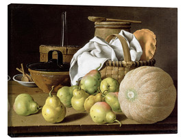 Canvastavla  Still Life with Melon and Pears - Luis Egidio Meléndez