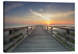 Canvastavla  Schoenberger beach jetty at sunrise - Dennis Stracke