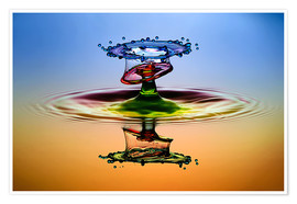 Premiumposter Water droplets in rainbow colors