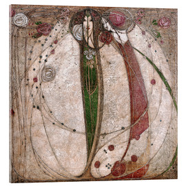 Akrylglastavla  The White Rose And The Red Rose - Margaret MacDonald Mackintosh