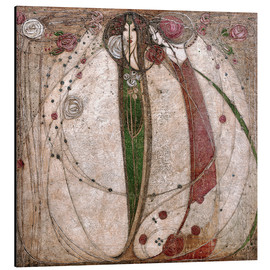 Aluminiumtavla  The White Rose And The Red Rose - Margaret MacDonald Mackintosh