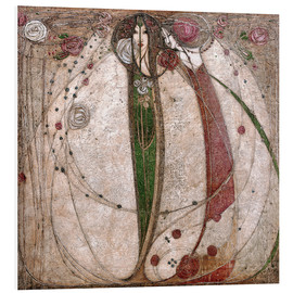 PVC-tavla  The White Rose And The Red Rose - Margaret MacDonald Mackintosh
