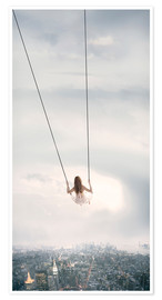 Premiumposter swinging over the city
