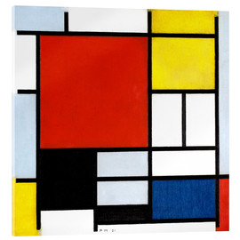Akrylglastavla  Composition with red, yellow, blue and black - Piet Mondriaan
