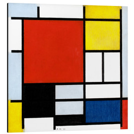Aluminiumtavla  Composition with red, yellow, blue and black - Piet Mondriaan