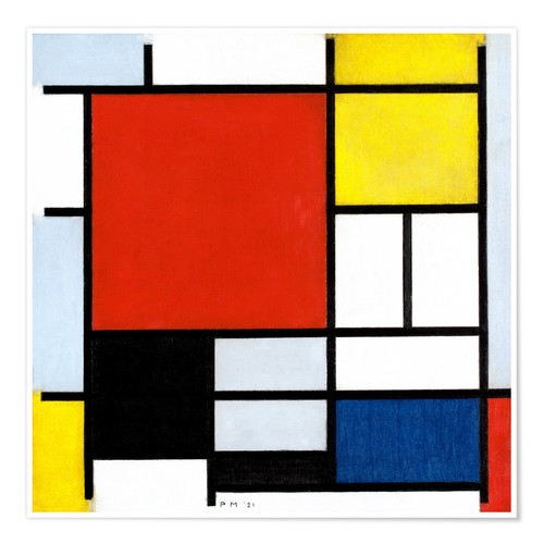 Premiumposter Composition with red, yellow, blue and black