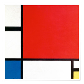 Premiumposter Composition II in Red, Blue and Yellow