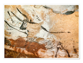 Premiumposter Bull and cow with calf, Cave of Lascaux