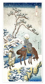 Premiumposter  Poet travelling in the snow - Katsushika Hokusai