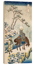 Trätavla  Poet travelling in the snow - Katsushika Hokusai