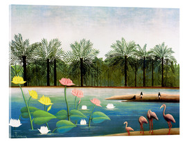 Akrylglastavla  The Flamingos - Henri Rousseau