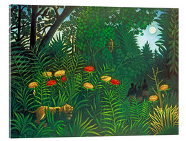 Akrylglastavla  Exotic Landscape with Tiger and Hunters - Henri Rousseau