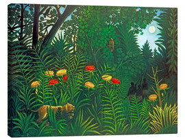 Canvastavla  Exotic Landscape with Tiger and Hunters - Henri Rousseau