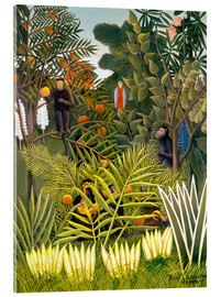 Akrylglastavla  Monkeys and Parrot in the Virgin Forest - Henri Rousseau