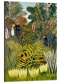 Aluminiumtavla  Monkeys and Parrot in the Virgin Forest - Henri Rousseau