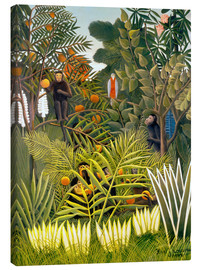 Canvastavla  Monkeys and Parrot in the Virgin Forest - Henri Rousseau
