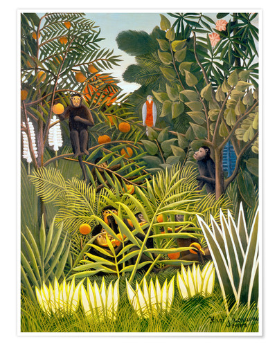 Premiumposter Monkeys and Parrot in the Virgin Forest