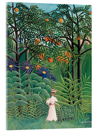 Akrylglastavla  Woman in an exotic forest - Henri Rousseau