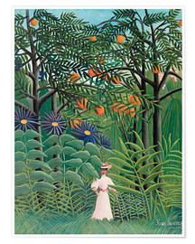 Poster  Woman in an exotic forest - Henri Rousseau