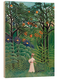 Trätavla  Woman in an exotic forest - Henri Rousseau