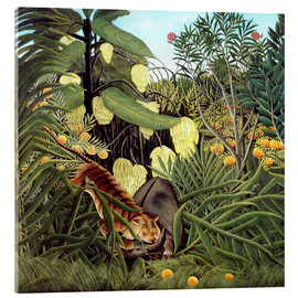 Akrylglastavla  Combat of a Tiger and a Buffalo - Henri Rousseau